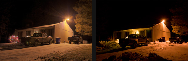 Typical lighting situations astrolab du parc national du mont mgantic this private property is now illuminated by a high pressure sodium wall sconce of 35 w photo on right instead of a mercury vapour security light photo on aloadofball Choice Image
